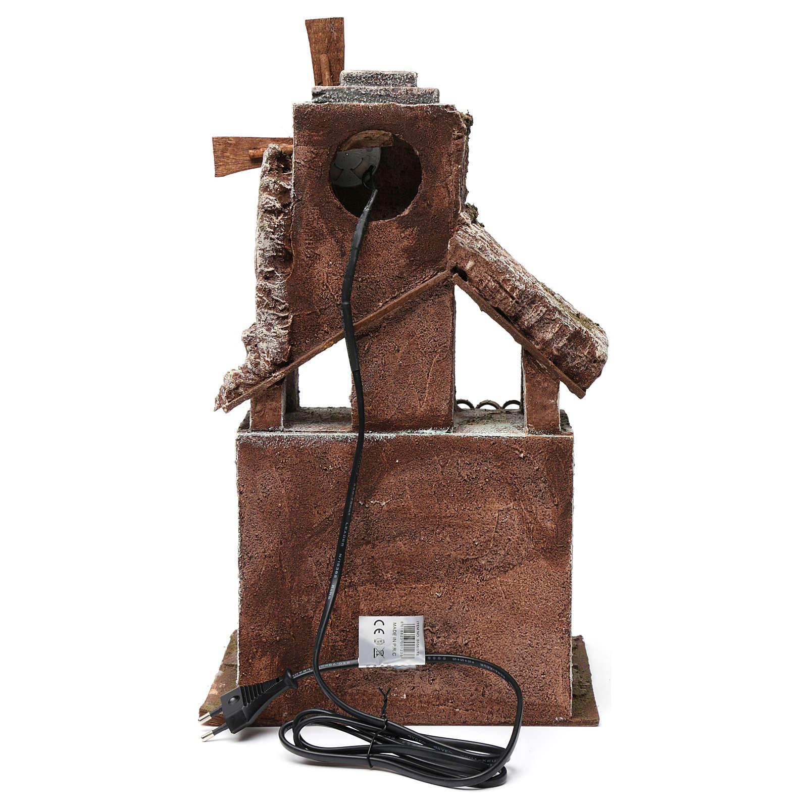 Mulino per presepe quattro eliche con porta in legno, tetto con tegole e pala 45X20X25 cm 4