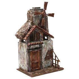 Mulino per presepe quattro eliche con porta in legno, tetto con tegole e pala 45X20X25 cm s3