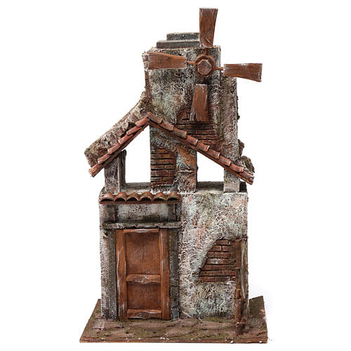 Mulino per presepe quattro eliche con porta in legno, tetto con tegole e pala 45X20X25 cm 1