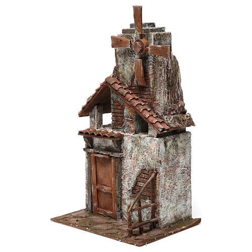 Mulino per presepe quattro eliche con porta in legno, tetto con tegole e pala 45X20X25 cm 2