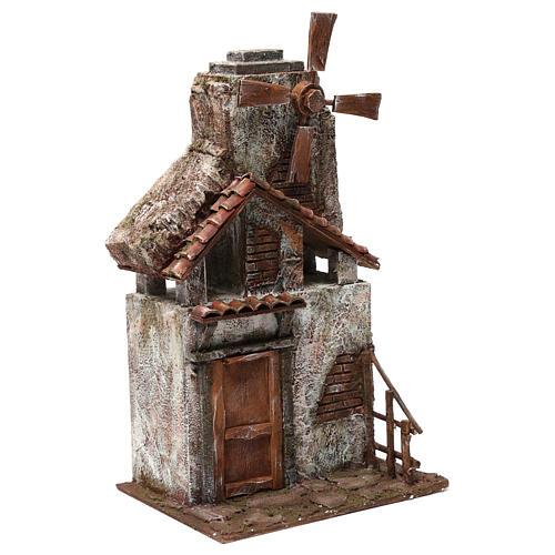 Mulino per presepe quattro eliche con porta in legno, tetto con tegole e pala 45X20X25 cm 3