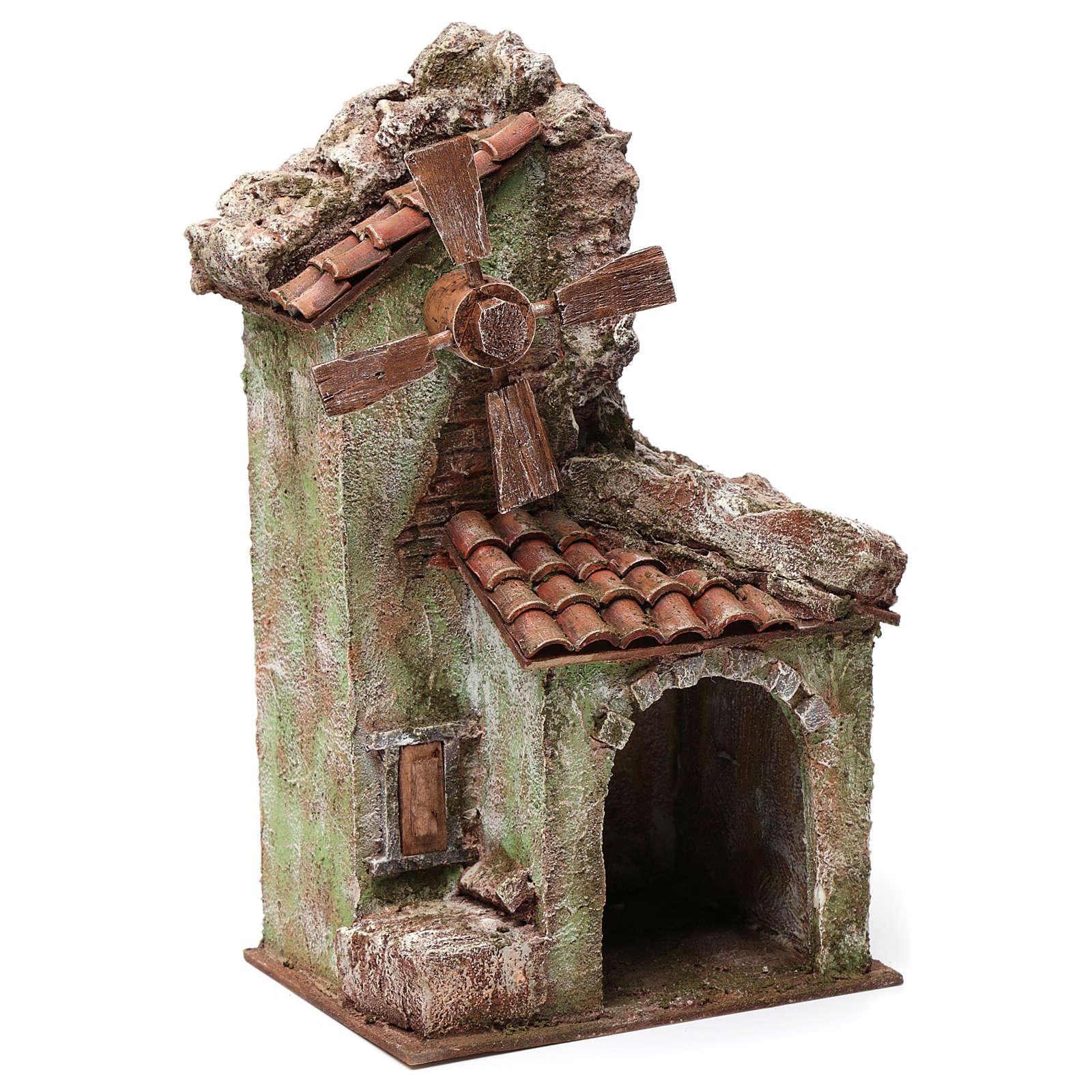 Moulin pour crèche quatre pales avec arc toit en tuiles 35x15x20 cm 4