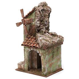 Moulin pour crèche quatre pales avec arc toit en tuiles 35x15x20 cm s2