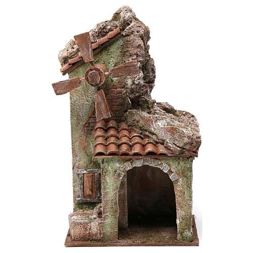 Moulin pour crèche quatre pales avec arc toit en tuiles 35x15x20 cm 1