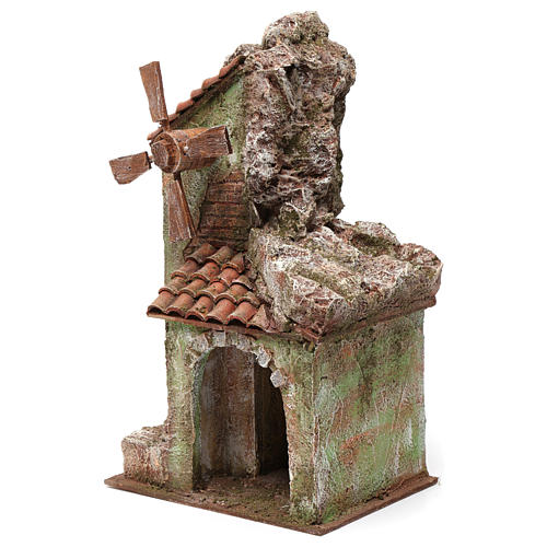 Moulin pour crèche quatre pales avec arc toit en tuiles 35x15x20 cm 2