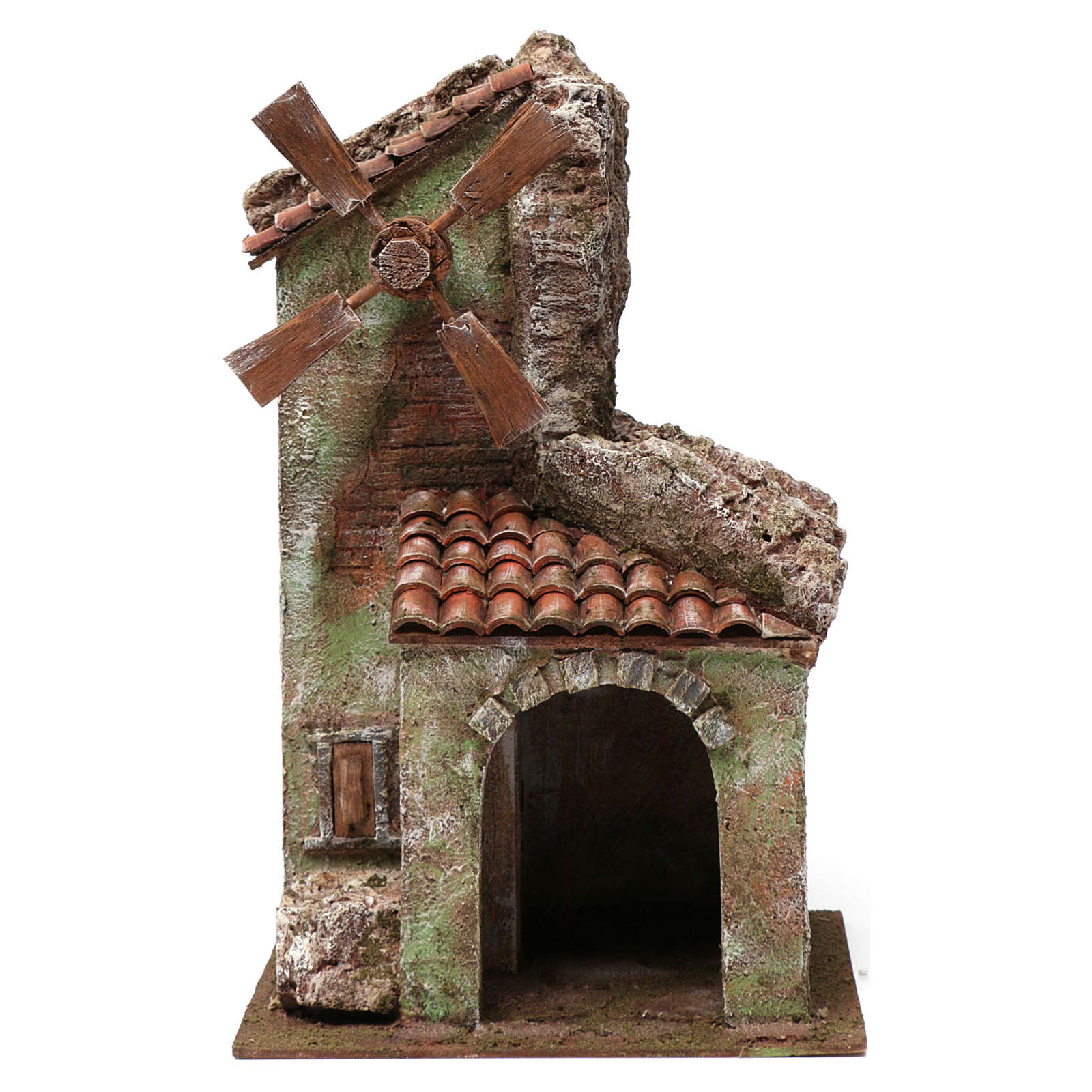 Molino para belén 4 hélices con arco y montaña, techo con tejas y pala 45x20x25 cm 4