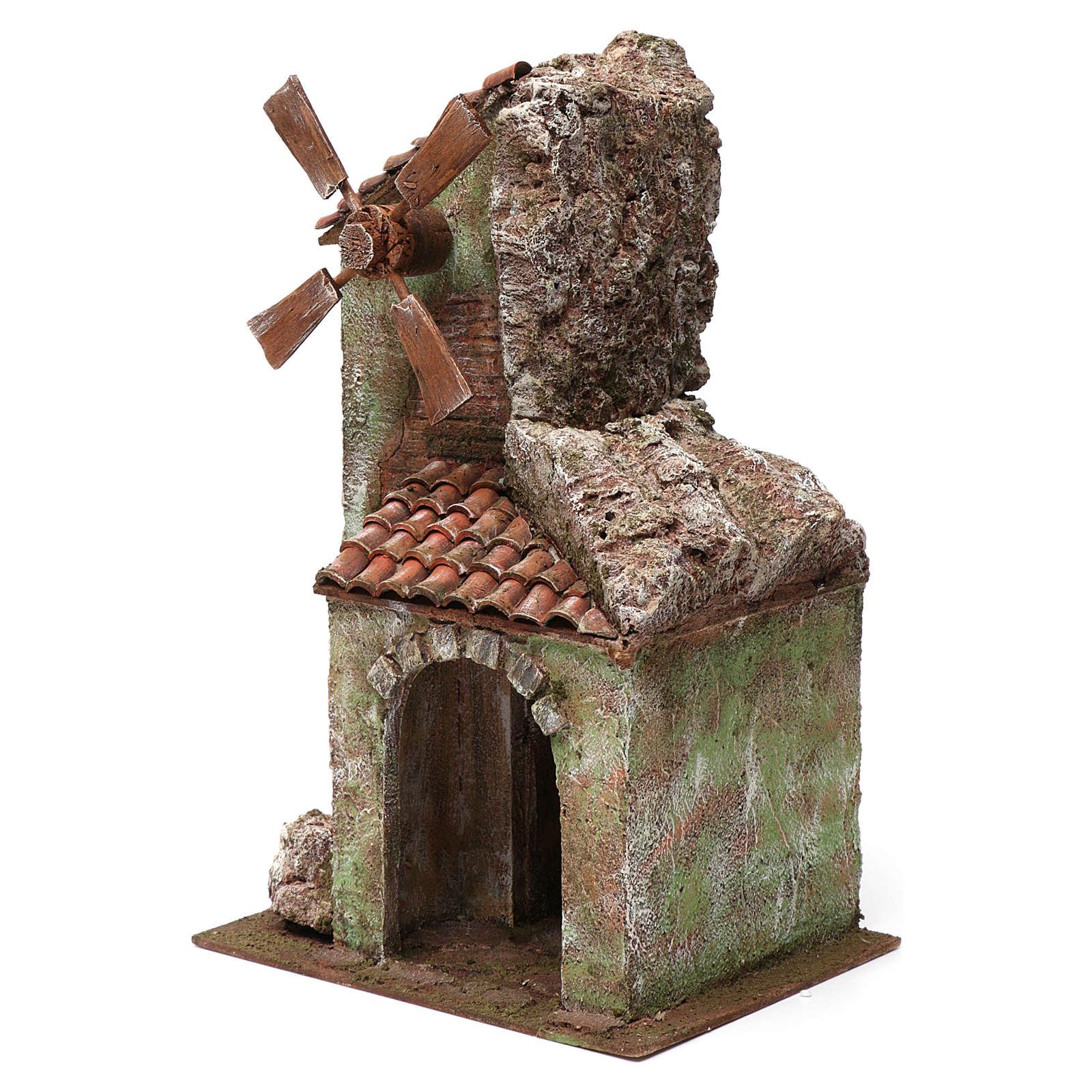 Moulin pour crèche quatre pales avec arc et montagne toit en tuiles 45x20x25 cm 4