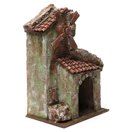 Moulin pour crèche quatre pales avec arc et montagne toit en tuiles 45x20x25 cm 3