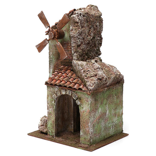 Nativity Windmill 4 propeller with arch and mountain, tile roof 45X20X25 cm 2