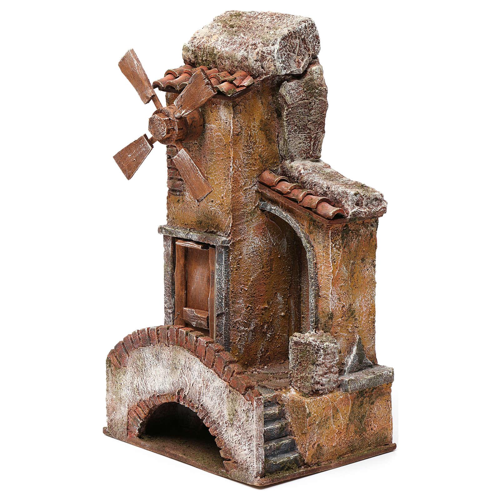 Moulin pour crèche quatre pales avec pont et marches, toit en tuiles 35x15x20 cm 4