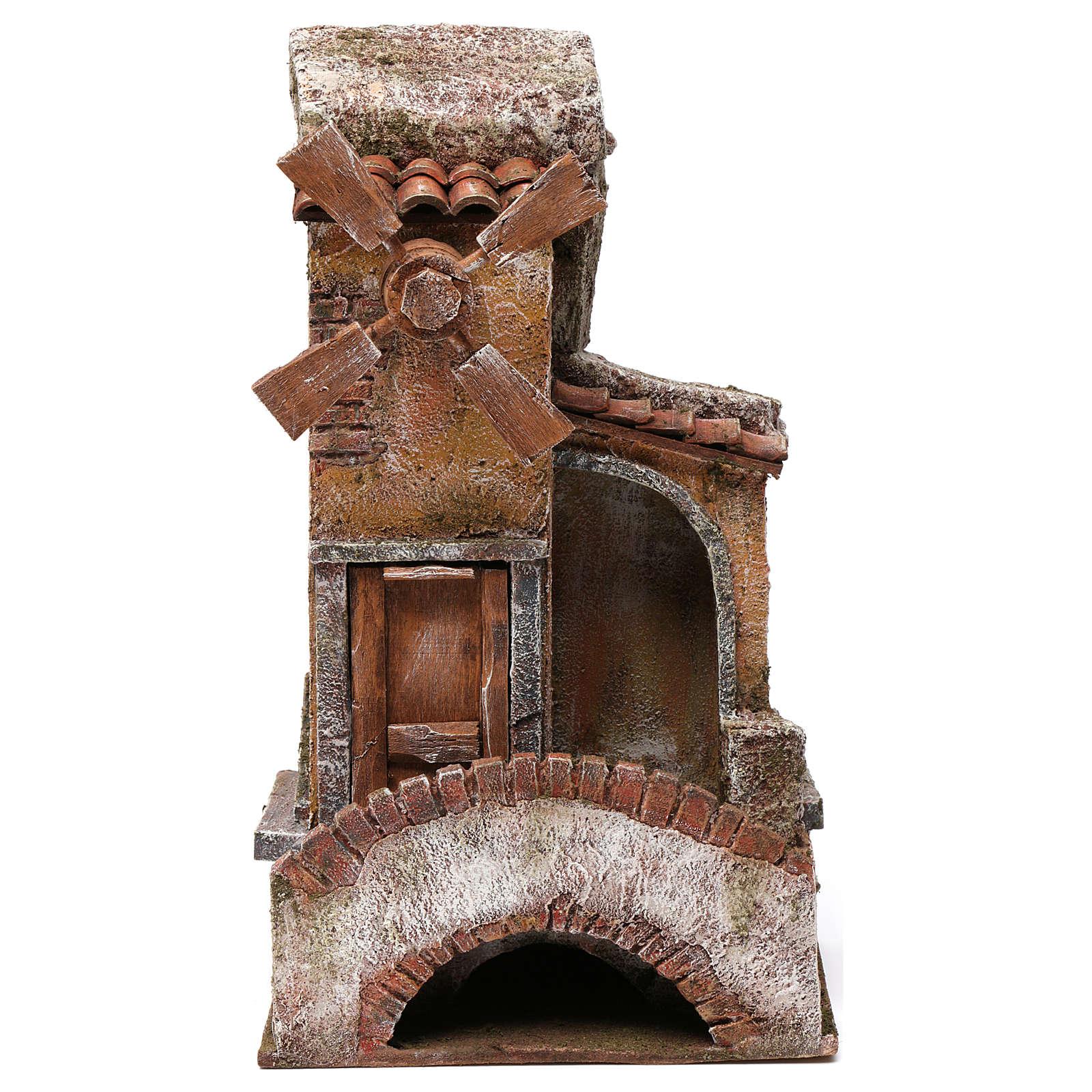 Mulino per presepe quattro eliche con ponte e scalini, tetto con tegole e pala 35X15X20 cm 4