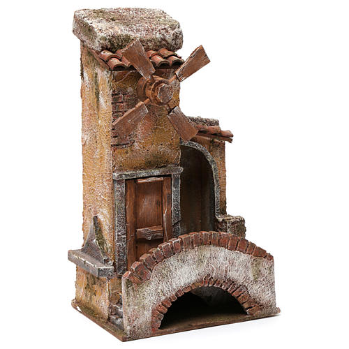 Mill for nativity 4 turbines with bridge,steps and tile roof 35X15X20 cm 3