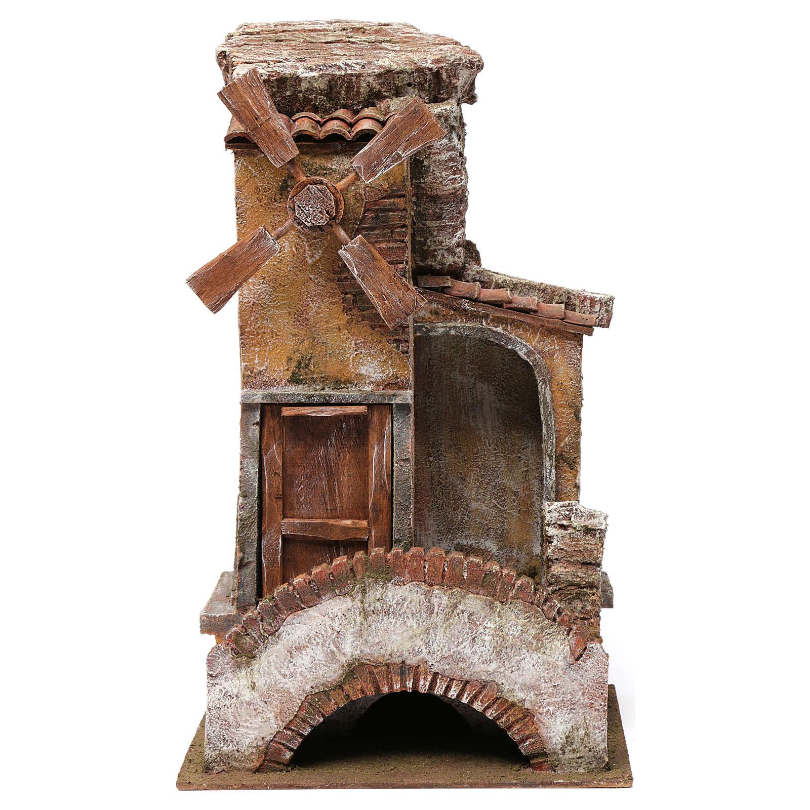 Mulino per presepe 4 eliche con porta legno, tetto con tegole, pala, ponte con scale 45X20X25 4