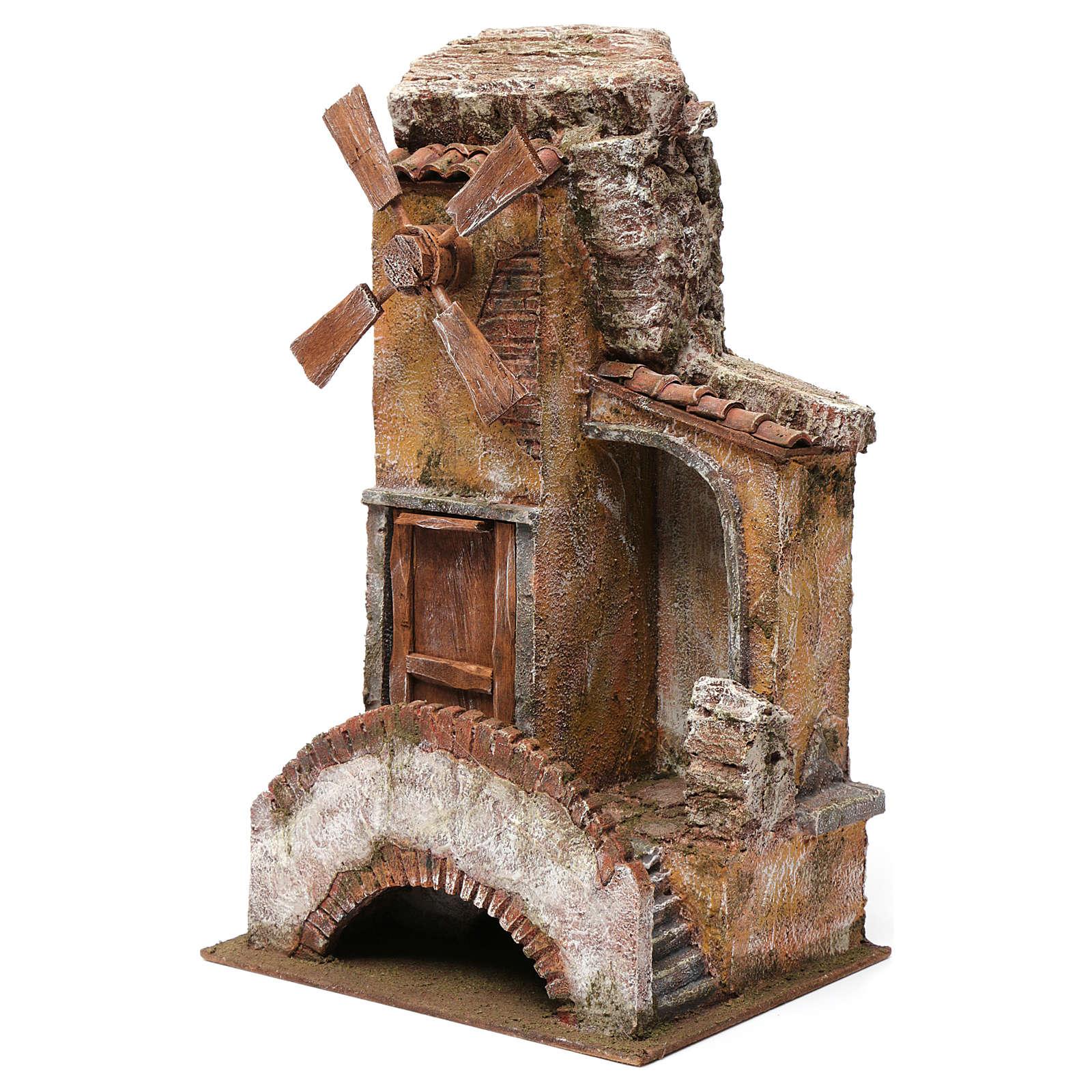 Mulino per presepe 4 eliche con porta legno, tetto con tegole, ponte con scale 45X20X25 4