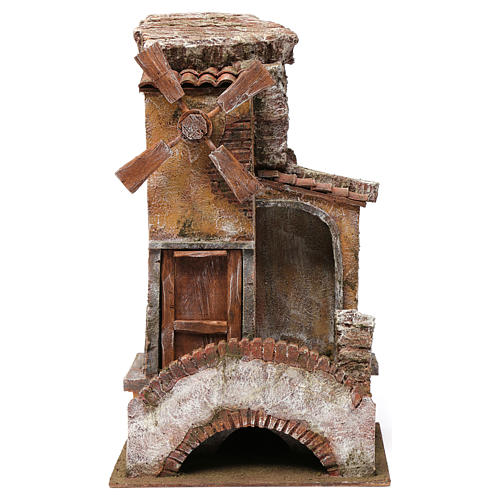 Mulino per presepe 4 eliche con porta legno, tetto con tegole, pala, ponte con scale 45X20X25 1