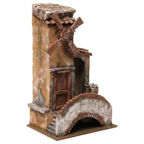 Mulino per presepe 4 eliche con porta legno, tetto con tegole, pala, ponte con scale 45X20X25 3
