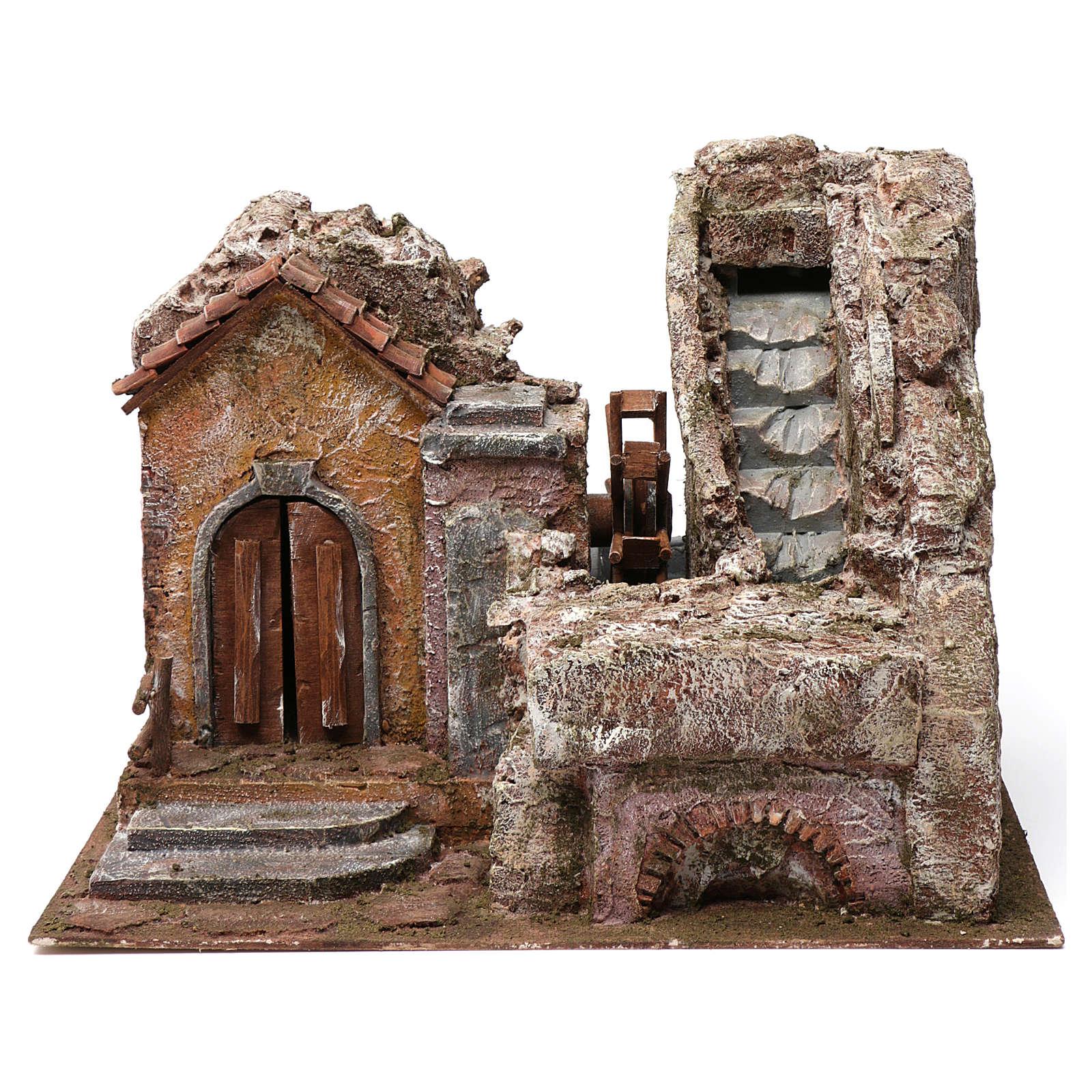 Moulin à eau crèche maison gauche flanc montagne derrière 35x30x40 cm 4