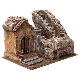 Water Mill for Nativity with House on left and part of a Mountain on top 35X30X40 cm s3