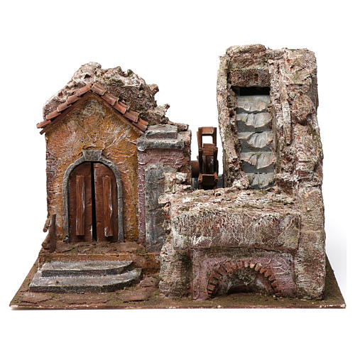Water Mill for Nativity with House on left and part of a Mountain on top 35X30X40 cm 1