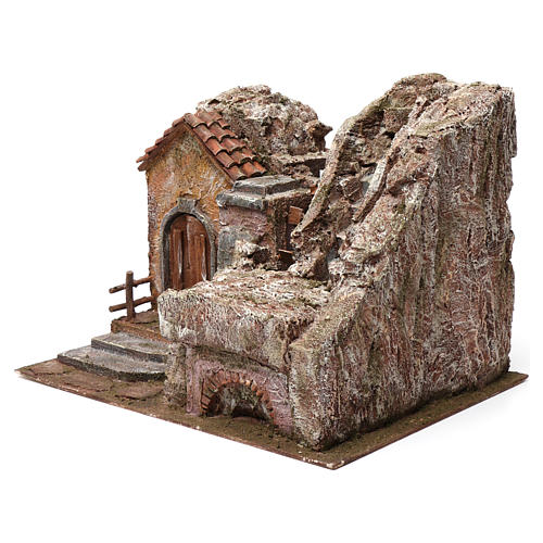 Water Mill for Nativity with House on left and part of a Mountain on top 35X30X40 cm 2