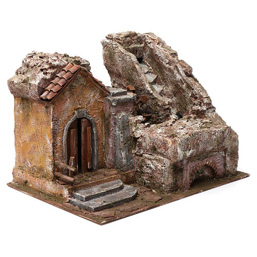 Water Mill for Nativity with House on left and part of a Mountain on top 35X30X40 cm 3