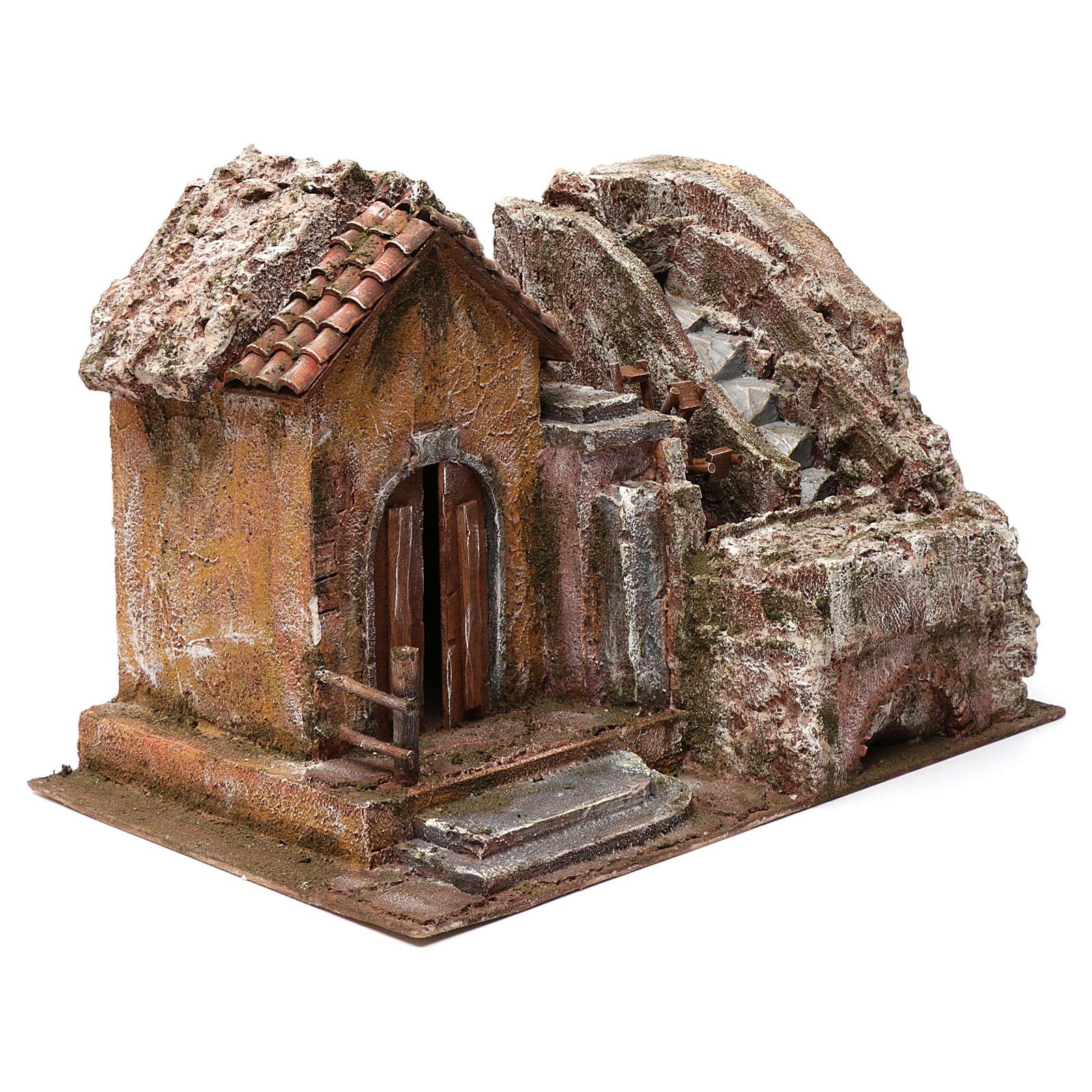 Mulino ad acqua presepe con casa a sinistra parte di montagna sopra tetto con tegole 45X35X45 4