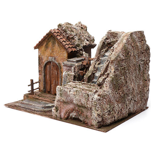 Mulino ad acqua presepe con casa a sinistra parte di montagna sopra tetto con tegole 45X35X45 2