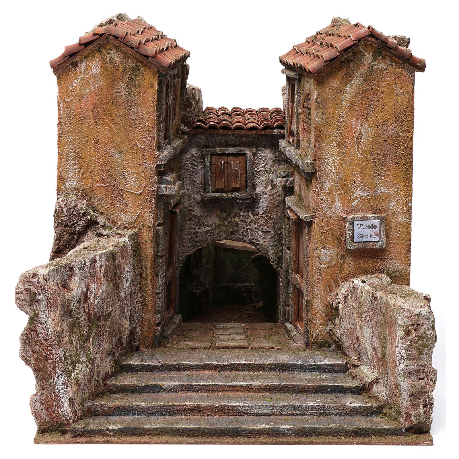 Bourgade petite ruelle avec virage pour crèche 12 cm 30x35x45 cm 4