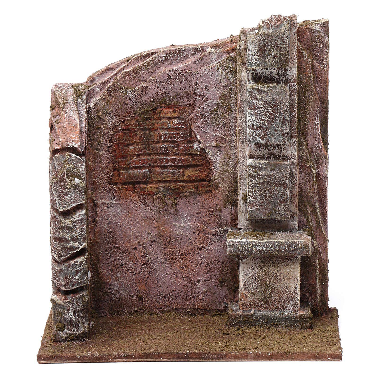 Brick wall with pillar for 12 cm nativity scene 4