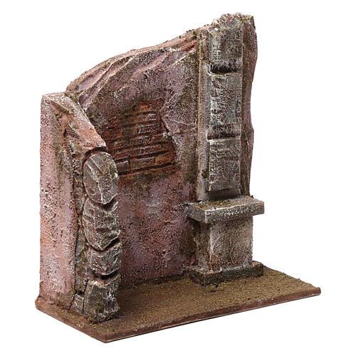 Brick wall with pillar for 12 cm nativity scene 3