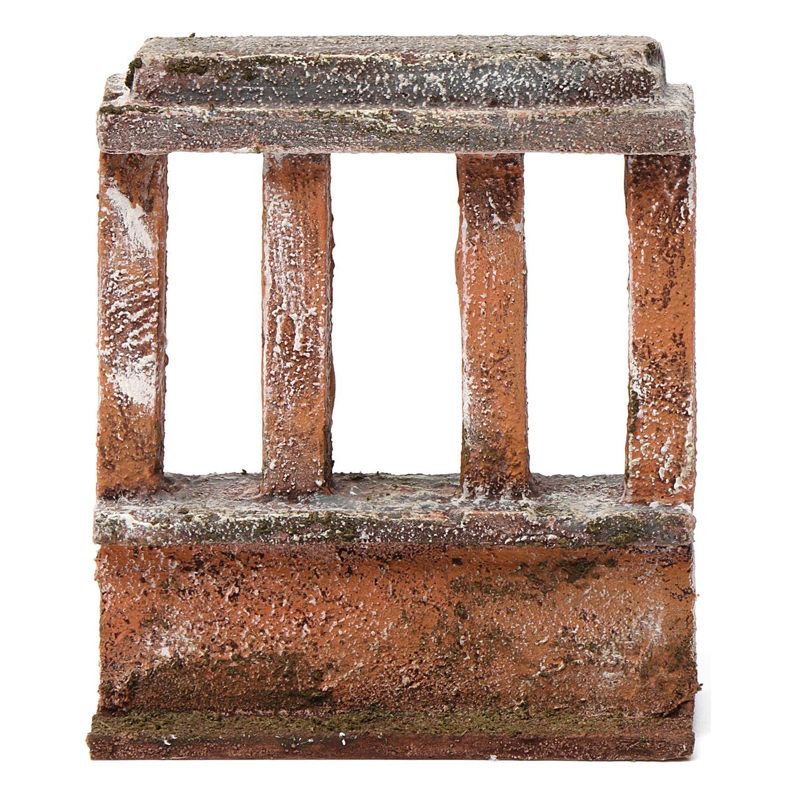 Muretto con quattro colonne per presepe 10 cm 15X10X5 cm 4