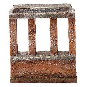 Muretto con quattro colonne per presepe 10 cm 15X10X5 cm s4