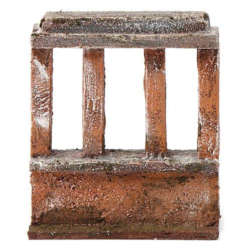 Muretto con quattro colonne per presepe 10 cm 15X10X5 cm 1