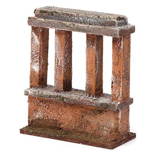 Muretto con quattro colonne per presepe 10 cm 15X10X5 cm 2