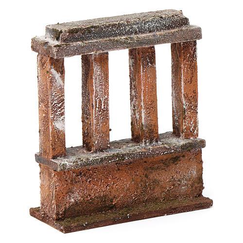 Muretto con quattro colonne per presepe 10 cm 15X10X5 cm 3