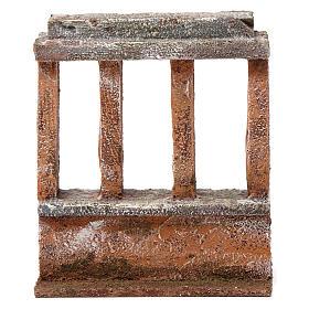 Muretto con quattro colonne per presepe 12 cm dimensioni 15X10X5 cm s1