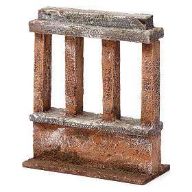 Muretto con quattro colonne per presepe 12 cm dimensioni 15X10X5 cm s2