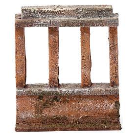 Muretto con quattro colonne per presepe 12 cm dimensioni 15X10X5 cm s4