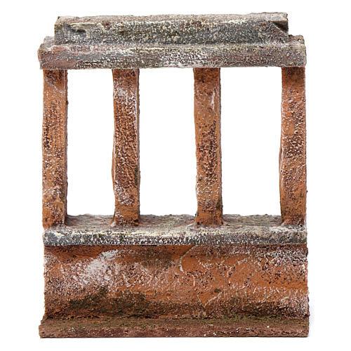 Muretto con quattro colonne per presepe 12 cm dimensioni 15X10X5 cm 1