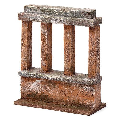 Muretto con quattro colonne per presepe 12 cm dimensioni 15X10X5 cm 2