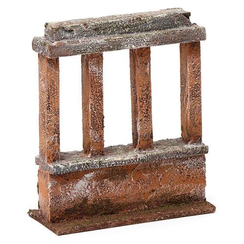 Muretto con quattro colonne per presepe 12 cm dimensioni 15X10X5 cm 3