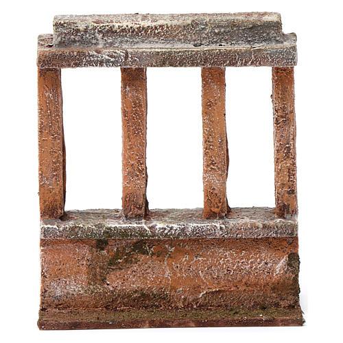 Muretto con quattro colonne per presepe 12 cm dimensioni 15X10X5 cm 4