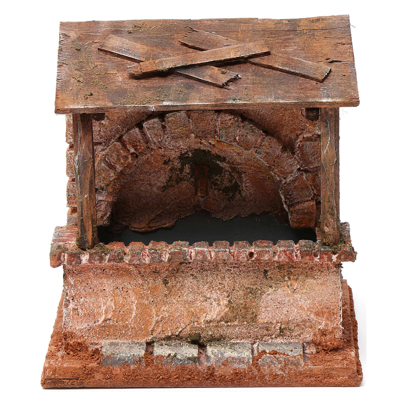 Fontaine avec abris en bois pour crèche 20x15x15 cm style palestinien 4