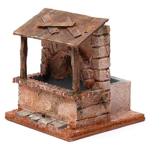 Fontaine avec abris en bois pour crèche 20x15x15 cm style palestinien 2