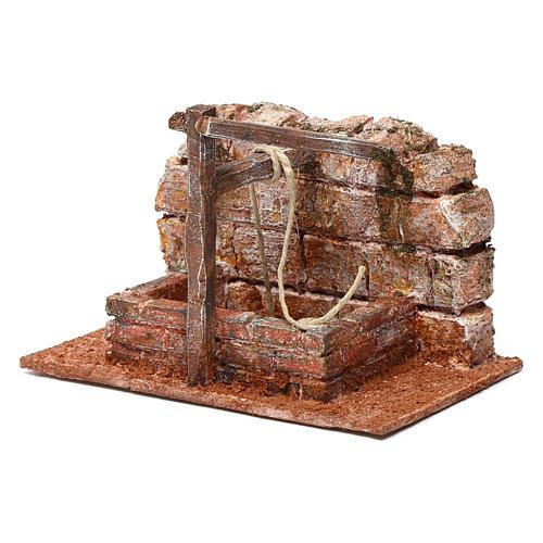 Pozzo con filo e travi in legno per presepe 10 cm dimensioni 15X15X10  cm stile palestinese 2