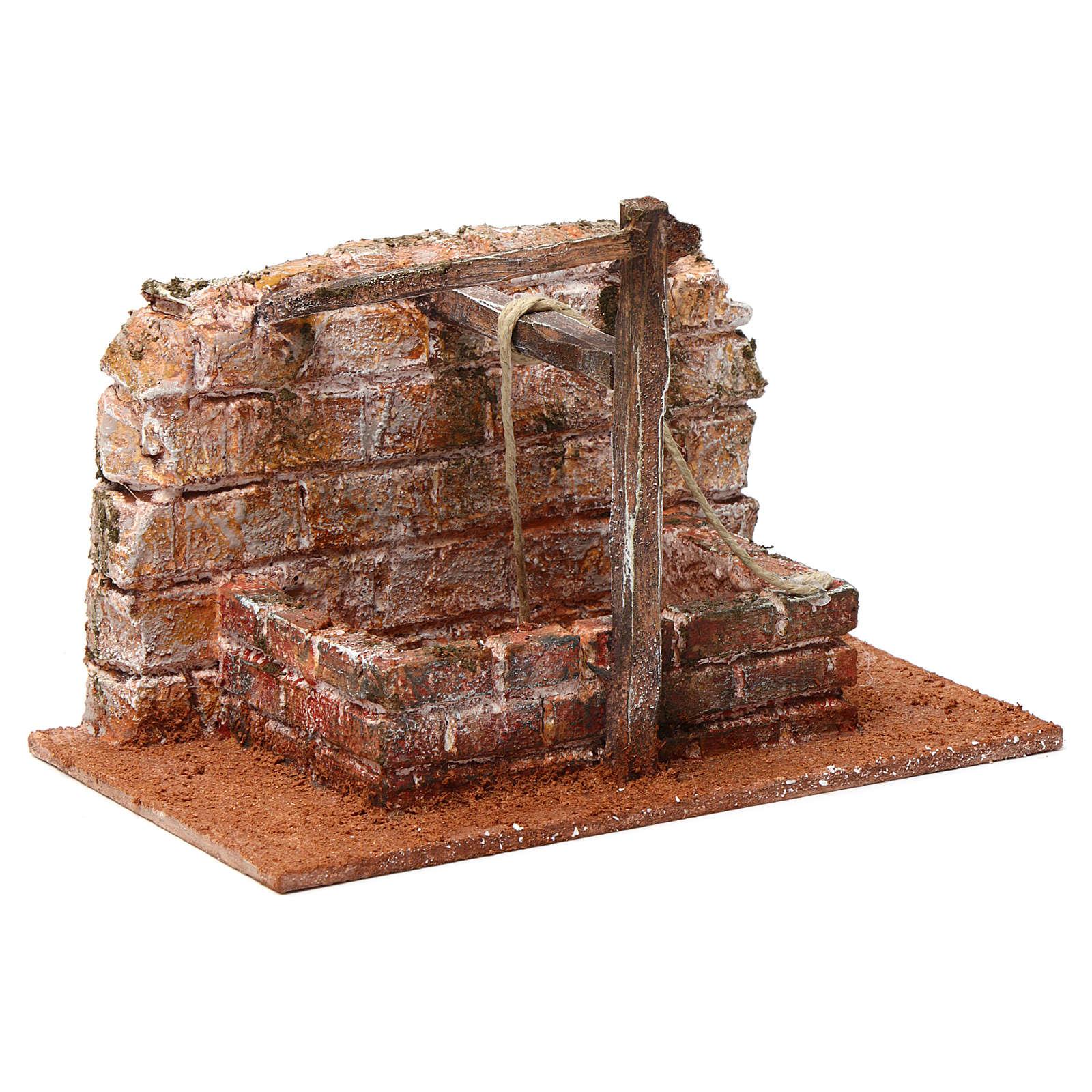 Pozzo con filo e travi in legno per presepe 12 cm 15X20X10  cm stile palestinese 4
