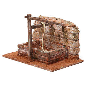 Pozzo con filo e travi in legno per presepe 12 cm 15X20X10  cm stile palestinese s2