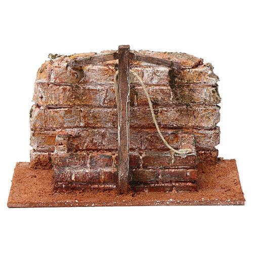 Pozzo con filo e travi in legno per presepe 12 cm 15X20X10  cm stile palestinese 1