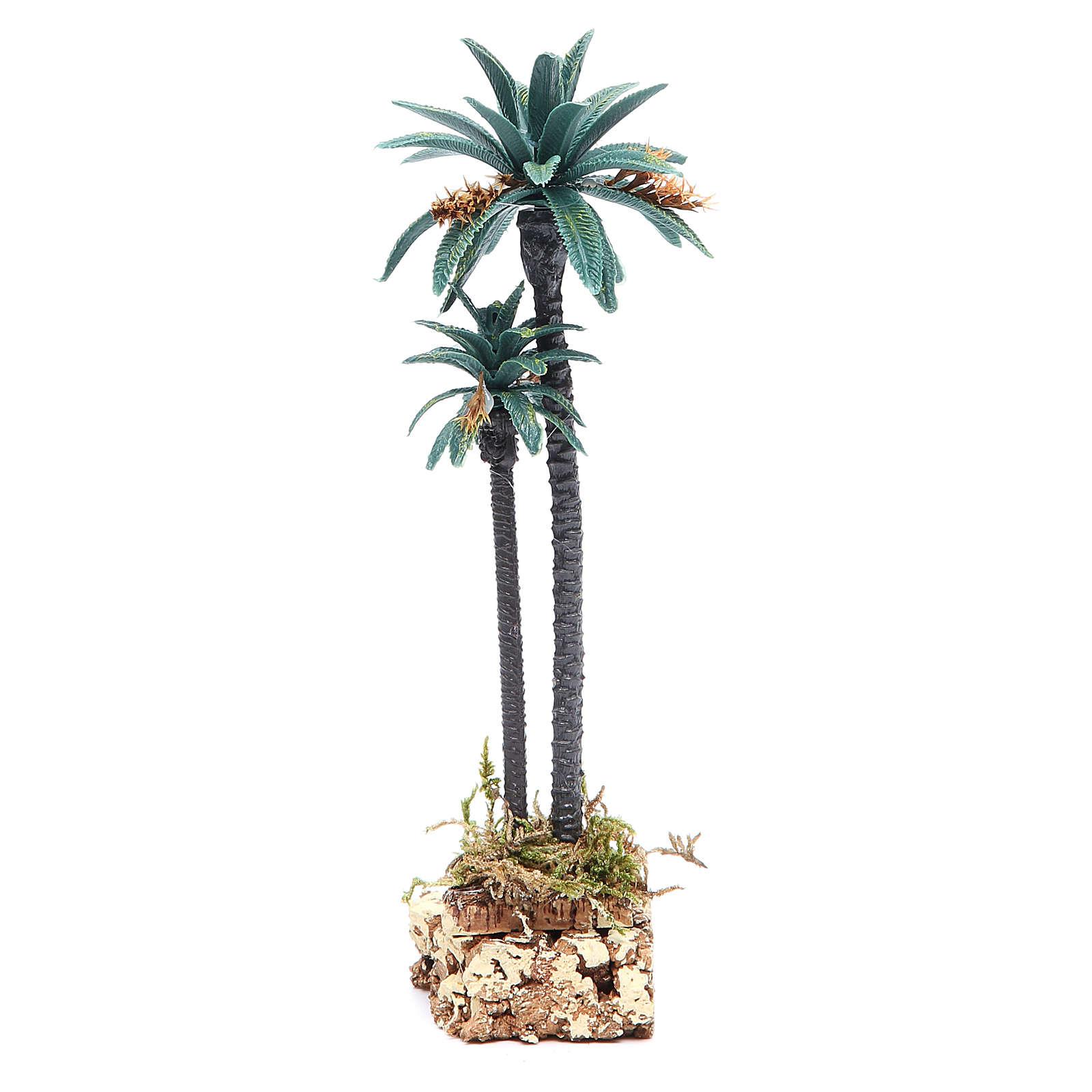 Palmier double h. réelle 20 cm en pvc 4