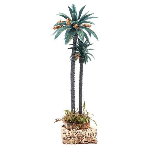 Palmier double h. réelle 20 cm en pvc 2